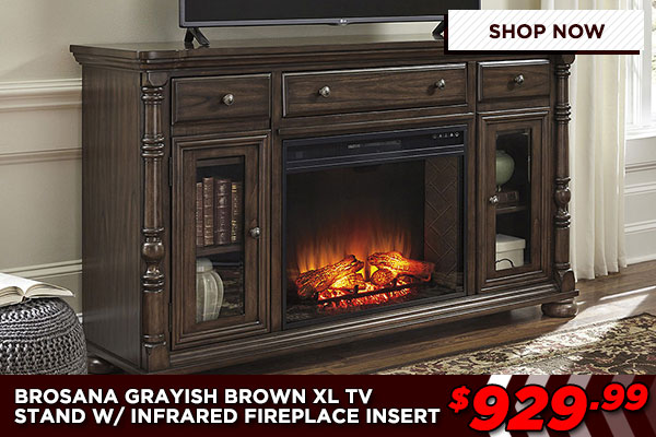 Brosana TV Stand With Infrared Fireplace