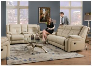 Miracle Pearl Bonded Leather Double Motion Sofa 50590BR