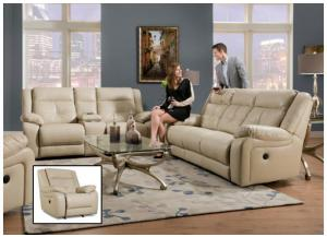 Miracle Pearl Bonded Leather Double Motion Sofa, Loveseat & Rocker Recliner 50590BR