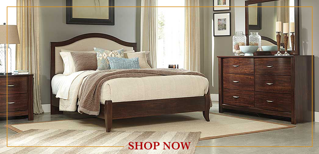 Corraya Medium Brown Queen Upholstered Panel Bed, Dresser & Mirror