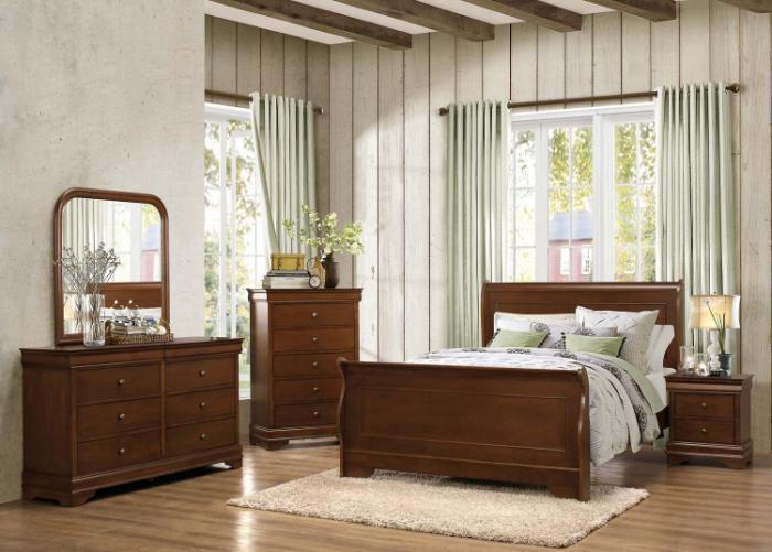 Traditional Cherry 7 Pc. Queen Bedroom Group,Home Elegance
