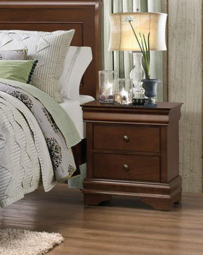 Traditional Cherry 3 Drawer Nightstand,Home Elegance