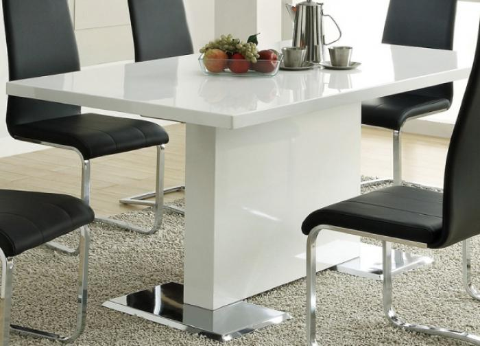 Coaster White Dining Table With Chrome Base,Coaster