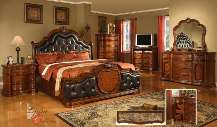 King Coronado Upholstered Bed, Dresser, Mirror, Nightstand,Mainline