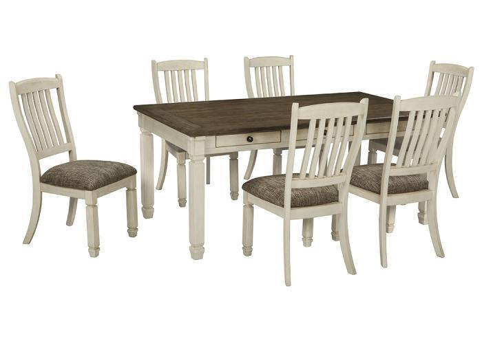 Bolanburg Antique White Rectangular Dining Room Table w/4 Upholstered Side Chairs,Woodstock Showcase