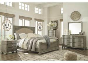 Marleny Gray/Whitewash Queen Upholstered Panel Bed w/Dresser, Mirror, & Nightstand
