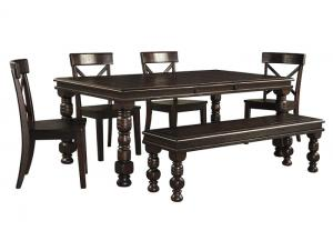 Gerlane Dark Brown Rectangular Dining Room Extension Table w/4 Side Chairs