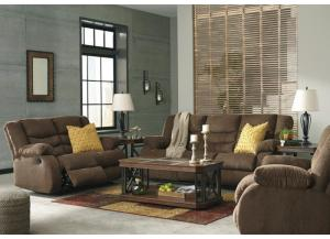 Tulan Chocolate Sofa and Loveseat + FREE Recliner