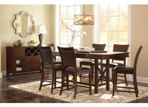Collenburg Dark Brown Table, 6 stools + Free TV