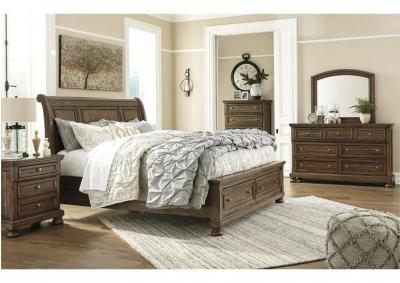 Flynnter Medium Brown Queen Storage Bed w/Dresser & Mirror