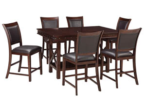 Collenburg Dark Brown Rectangular Dining Room Counter Extension Table w/4 Upholstered Barstools