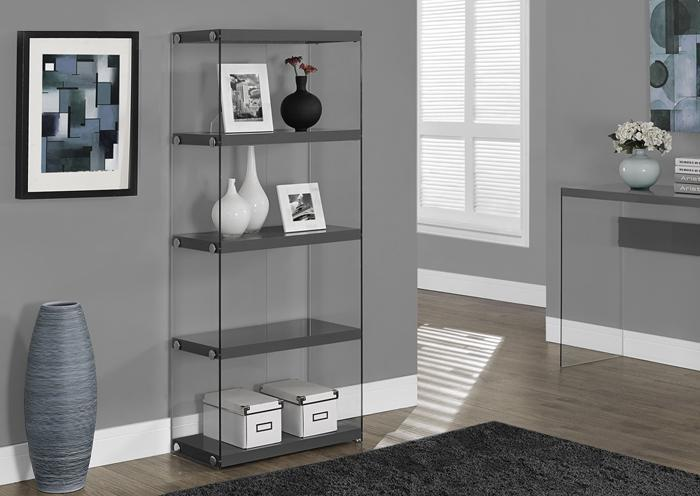 BOOKCASE – 60″H / GLOSSY GREY WITH TEMPERED GLASS 3295,XLNC Xclusives