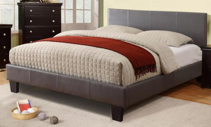 VOLT II QUEEN SIZE PLATFORM GREY BED FRAME,XLNC Xclusives
