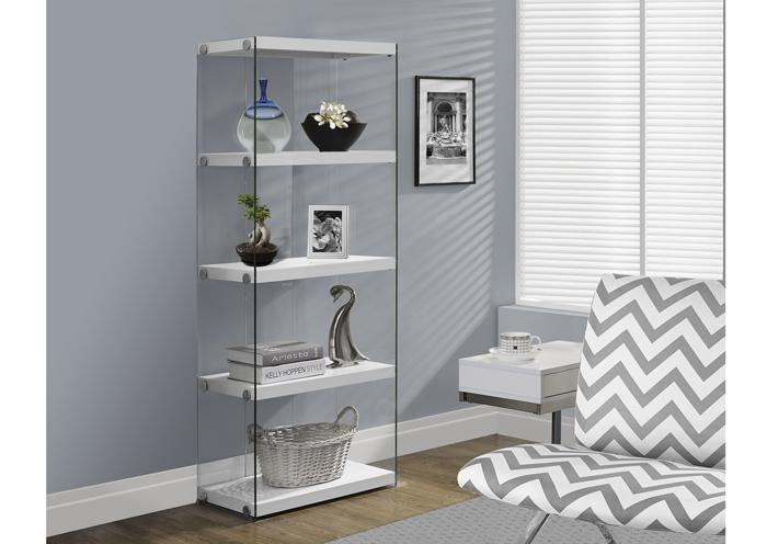 BOOKCASE – 60″H / GLOSSY WHITE WITH TEMPERED GLASS 3289,XLNC Xclusives