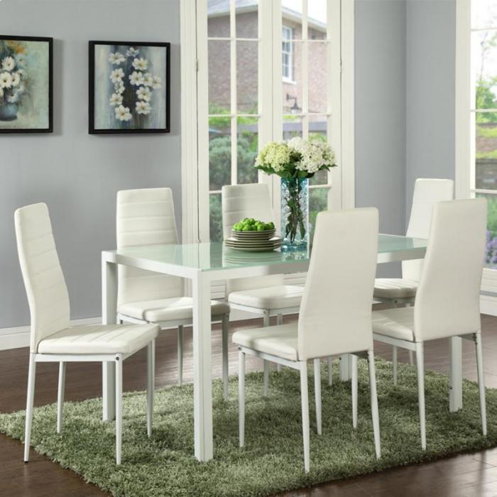 CONTRA WHITE 7 PIECE DINNING SET,XLNC Xclusives