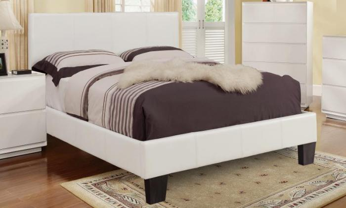 VOLT QUEEN SIZE PLATFORM WHITE BED FRAME,XLNC Xclusives