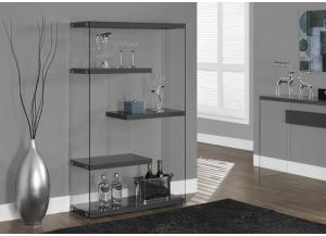 BOOKCASE – 60″H / GLOSSY GREY WITH TEMPERED GLASS 3296