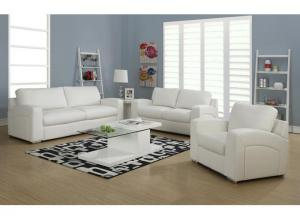 CAPITOL 3 PIECE WHITE BONDED LEATHER / MATCH