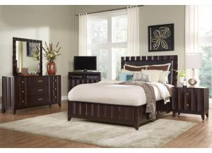 DELANO QUEEN BED FRAME, DRESSER, MIRROR, NIGHT STAND