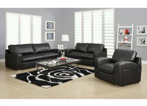 CAPITOL 3 PIECE BLACK BONDED LEATHER / MATCH