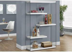 BOOKCASE – 60″H / GLOSSY WHITE WITH TEMPERED GLASS 3290