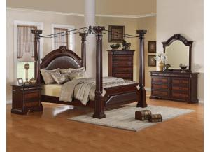 ROMAN EMPIRE QUEEN BED, DRESSER, MIRROR AND NIGHT STAND