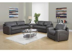 CAPITOL 3 PIECE GREY BONDED LEATHER / MATCH