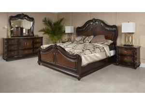 VENICE BED FRAME, DRESSER, MIRROR, NIGHT STAND