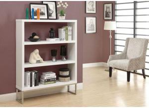 BOOKCASE – 60″H / WHITE WITH CHROME METAL 2559