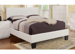 VOLT QUEEN SIZE PLATFORM WHITE BED FRAME