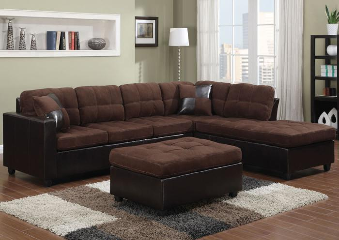 Mallory Chocolate Sectional - Comes with FREE Ottoman,Coaster In-store