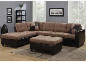 Mallory Tan Sectional - Comes with FREE Ottoman