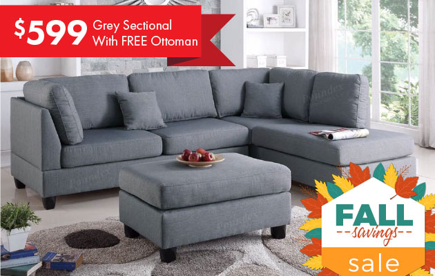 Gray Sectional with free ottoman