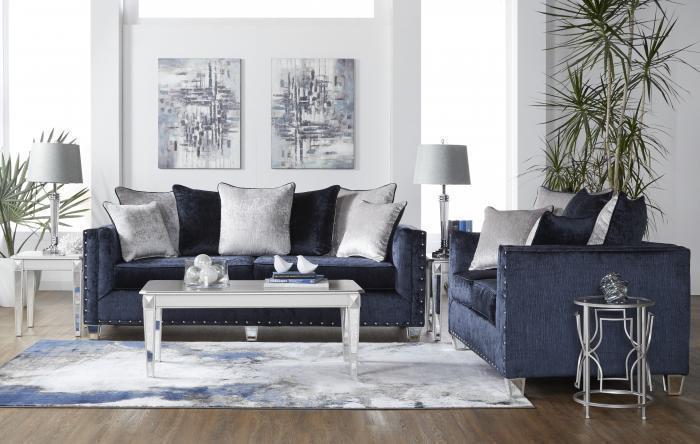 5th Avenue Furniture - MI Bliss Navy Sofa & Loveseat