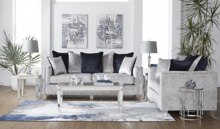 5th avenue furniture - mi bliss gray sofa & loveseat