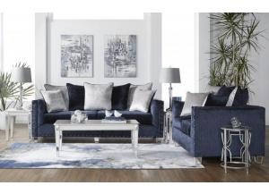 Image for Bliss Navy Sofa & Loveseat