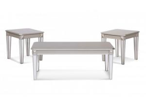 Mirrored Cocktail Table & 2 End Tables