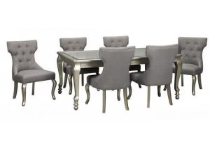 Coralayne Silver Dining Table w/ 4 Side Chairs