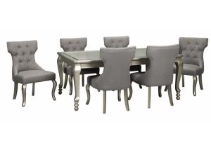 Coralayne Silver Dining Table w/ 6 Side Chairs