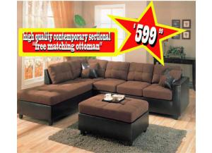 Mallory Chocolate Sectional w/ FREE Ottoman!