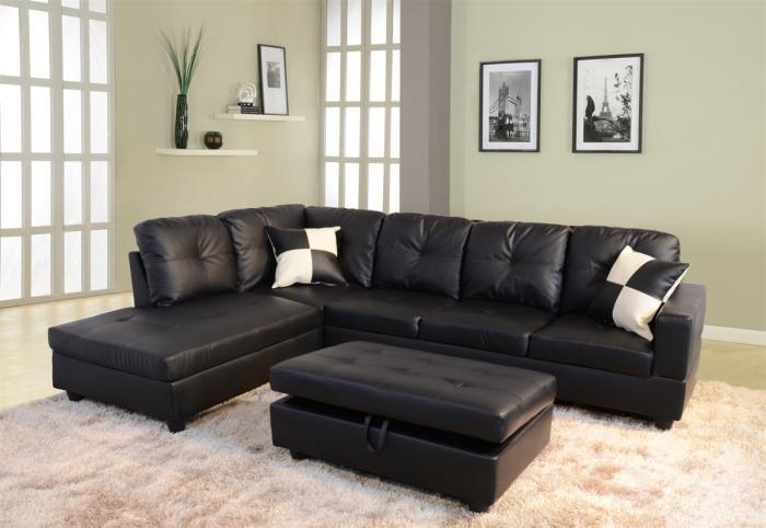 Beverly Black Sectional,Beverly Furniture