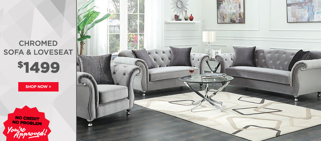 Chromed Sofa + Loveseat