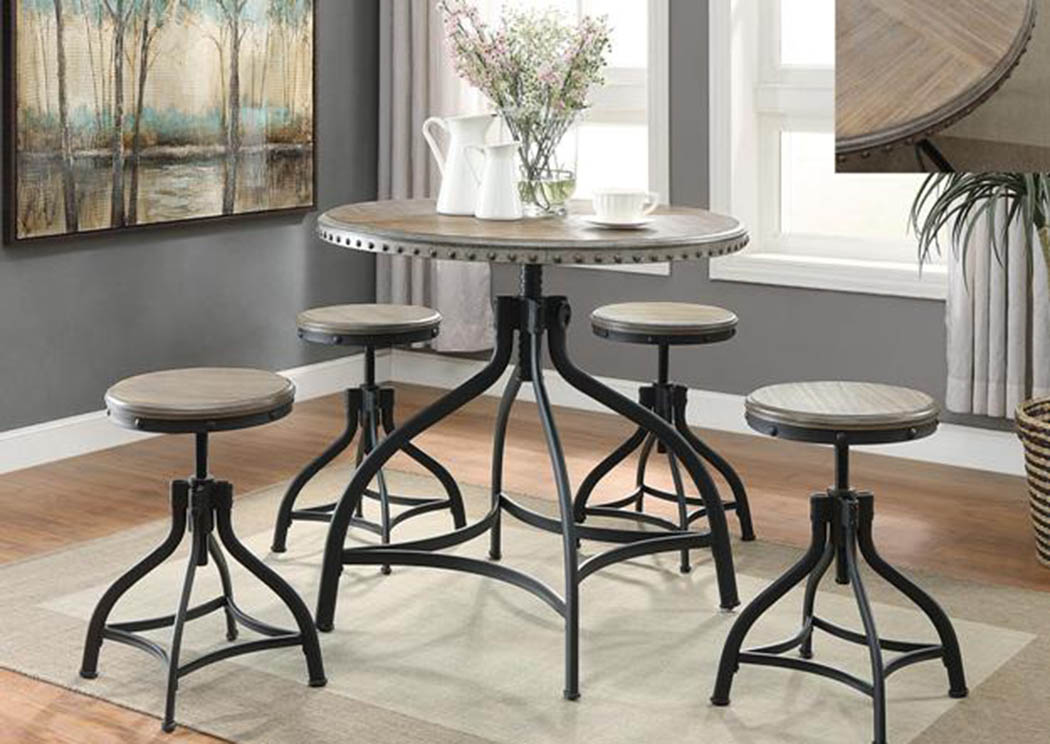 Hi Dining Table w/4 Stools,Crown Mark