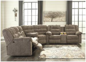 Workhorse Cocoa Reclining Sectional w/Console