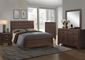 Farrow Chocolate Queen Bed, Dresser, Mirror and Nightstand