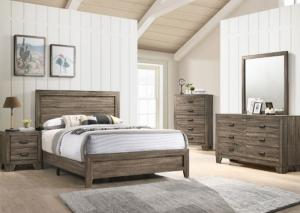 Millie Brown Queen Bed, Dresser, Mirror and Nightstand