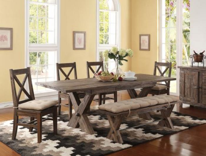 Tuscany Park Dining Table, 4 Chairs and Bench,New Classic