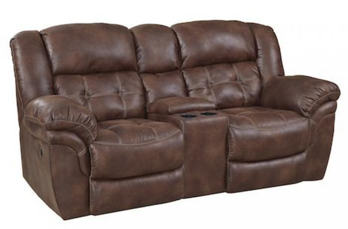 Frontier Espresso Rocking Reclining Loveseat with Console,HomeStretch