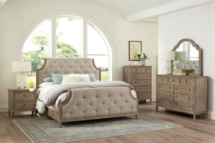Tuscany Queen Upholstered Bed, Dresser, Mirror, Chest and Nightstand,Standard Furniture