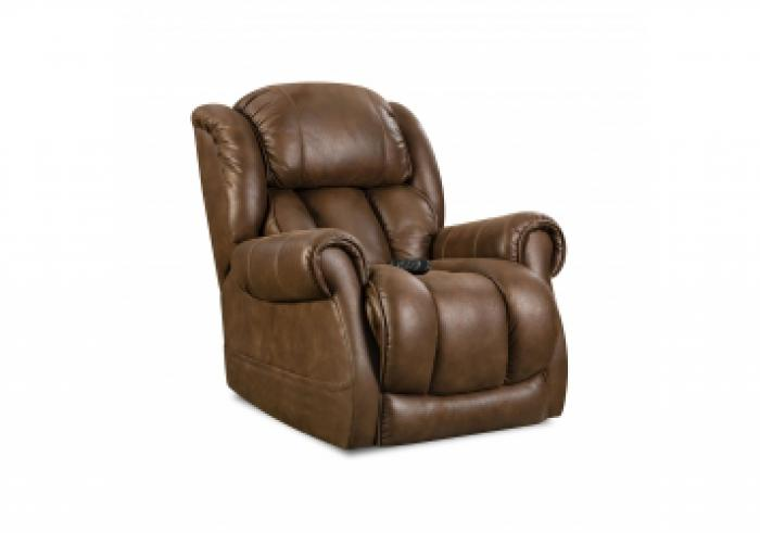 Atlantis Cognac Power Recliner with Adjustable Head and Lumbar,HomeStretch